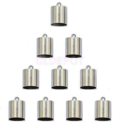 10pcs Tube End Bead Cap for 9mm 10mm Cord Jewelry Bracelet Findings Silver