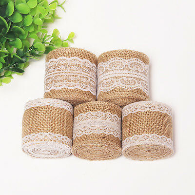 Natural Vintage Jute Burlap Hessian Rustic Ribbon Lace Trim Wedding Decor