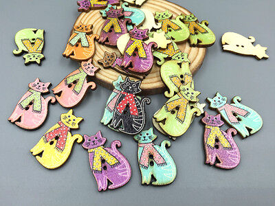 Cute Cats Wooden Buttons Fit Sewing Scrapbooking Decoration Crafts 30mm