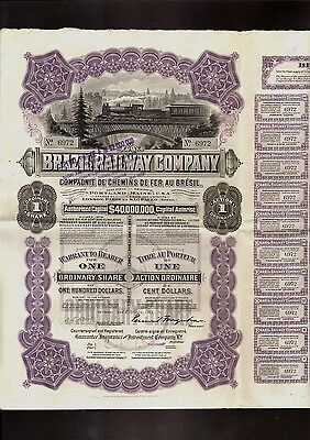 BRAZIL RAILWAY COMPANY DD 1911 USD 100 with  40 dividend coupons + 1 talon