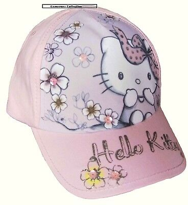 Girls HELLO KITTY  Lovely Spring Summer Holiday Peaked Cap Sun Hat 3-6 yrs