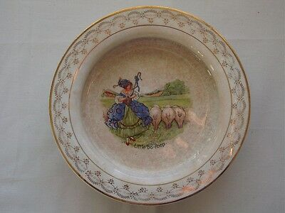 Vintage Little Bo-Peep Child's Crock Dish-Bowl-G.S. McNycol-East Liverpool ,O