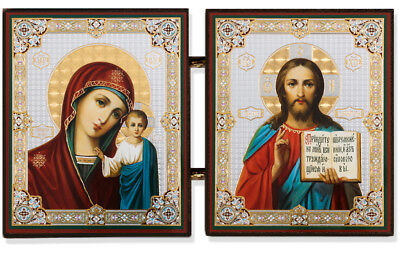 Madonna and Child Virgin of Kazan Christ Wooden Russian Icon Diptych 3 Inch