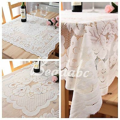 Soft Vintag Luxury Lace White Square Tablecloth IN HAND Rose Cover Dining Table