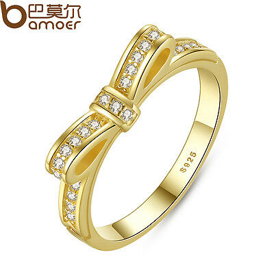 Bamoer Authentic S925 Sterling Silver Sparkling Bow CZ Ring With 14K Gold Plated