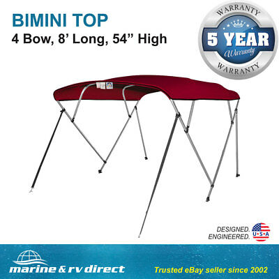 "New Pontoon  Bimini Top Boat Cover 4 Bow 54"" H 91"" - 96"" W 8 ft. Long Burgundy"