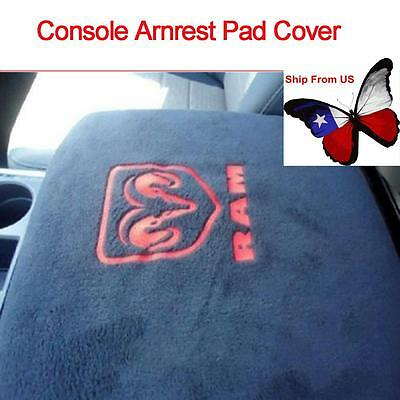 Black Center Armrest Console Cover Embroidered For Dodge Ram 1500-5500 Truck