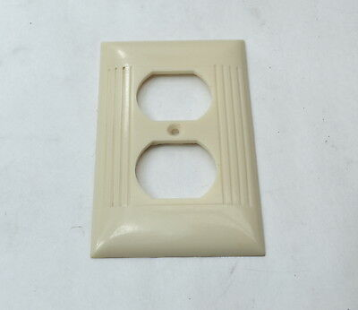 Vintage Bakelite Ivory Sierra Outlet Dual Plate Ribbed Cover D8 D-8 USA MADE