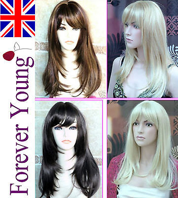 Ladies Long Blonde Full Wig Hair Fringe Style Brown Black Fashion Wigs Wig Brush