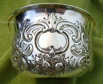 Antique Solid Sterling Silver Victorian Bowl Embossed With Fruit & Flowers 1894
