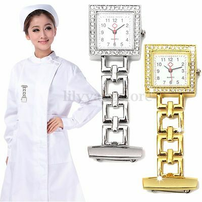 Rhinestone Square Dial Stainless Steel Nurse Watch Brooch Tunic Fob Watch Quartz