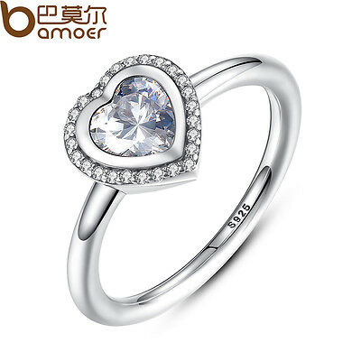 Bamoer Authentic S925 Sterling Silver Sparkling Love Heart Ring, Clear For Women