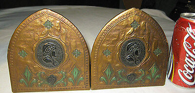 Antique Mission Arts & Crafts Tooled Leather Dante Italy Bust Art Book Bookends