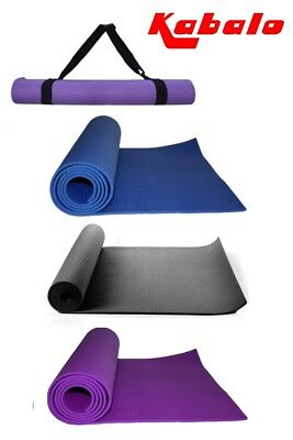 EXTRA THICK 6mm Non-Slip Yoga Mat Exercise blue&purple 173cm x 61cm With Straps!