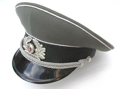 Ddr East German Army Officers Peaked Cap & Badge With Braided Chin Strap