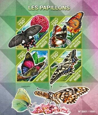 Niger - 2015 Butterflies on Stamps - 4 Stamp Sheet - NIG15502a