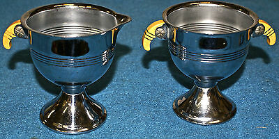 Art Deco Silver Plated Bakelite Handles Pedestal Base Sugar Bowl And Creamer