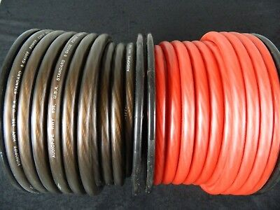 0 Gauge Wire 40 Ft 20 Red 20 Black Superflex 1/0 Awg Power Ground Cable Stranded