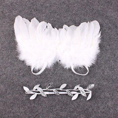 Elegant Baby Kids Feather Lace Manual Leaves Headband & Angel Wings Photo Props