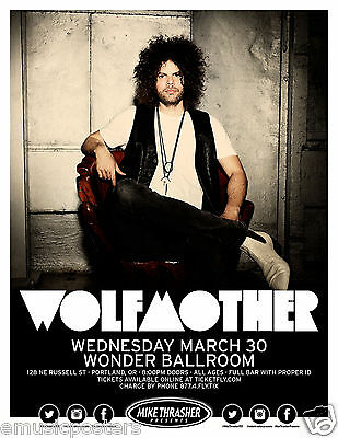 WOLFMOTHER 2016 PORTLAND CONCERT TOUR POSTER-Hard/Stoner Rock,Heavy Metal Music