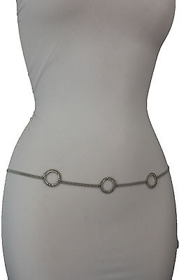 Women Fashion Belt Hip High Waist Silver Thin Metal Chain Circle Round Charm S M
