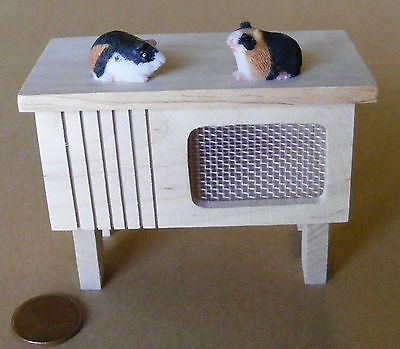 1:12 Natural Finish Wooden Hutch & 2 Guinea Pigs Dolls House Miniature Pets