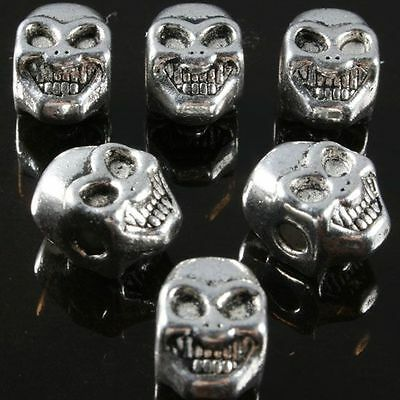 20 pcs Tibetan Silver Skull Shape Spacer Beads Charm Punk Jewelry Findings