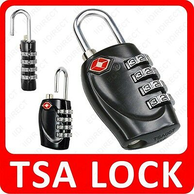 3 x TSA 4 Dial Luggage Locks Travel Suitcase Locks Black