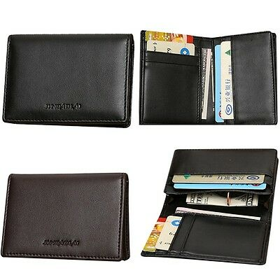 New Mens PU Leather Bifold ID Credit Card Money Holder Wallet