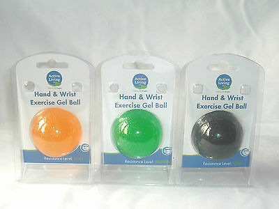NEW HAND AND WRIST EXERCISE GEL BALL SOFT MEDIUM FIRM RESISTANCE or SET OF 3