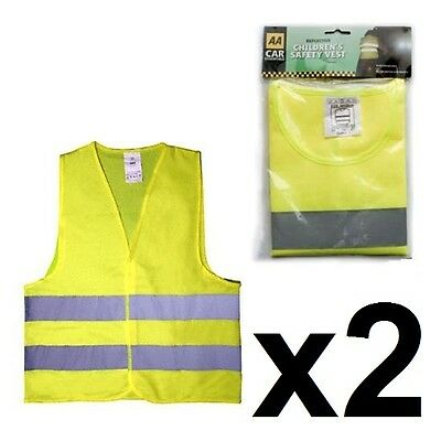 2 x AA CHILDRENS KIDS HIGH VISIBILITY REFLECTIVE FLUORESCENT JACKET SAFETY VESTS