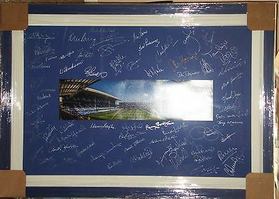 MULTI SIGNED & FRAMED PANORAMIC SIGNED By OVER 40 EX EVERTON PLAYERS