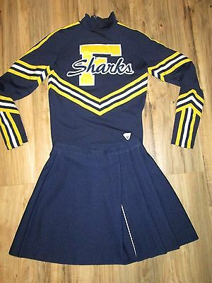 """Authentic Cheerleader Uniform Outfit Cheer Costume Top M 24"""" Skirt Sharks Navy"""