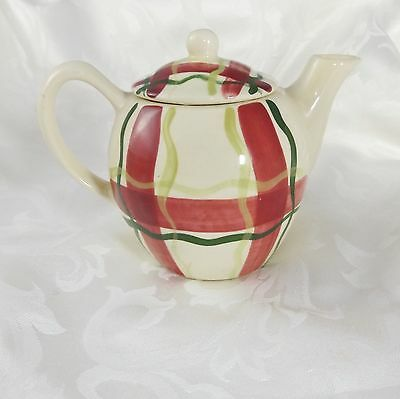 Vintage Purinton Red Green Plaid Small Teapot