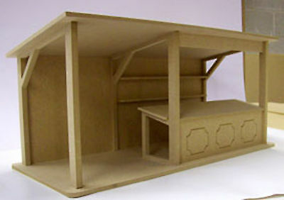 1:24 Scale Wide Flat Pack Market Stall Kit Dolls House Miniature Shop