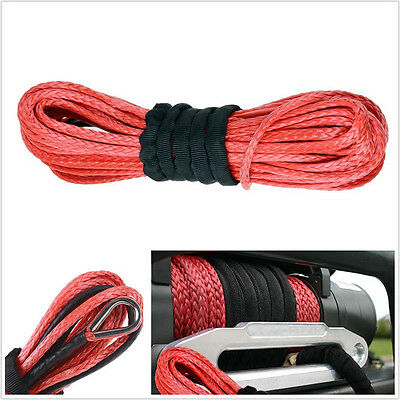 """50'X1/4""""Dyneema Synthetic Winch Rope Cable 6400 LBs ATV SUV Recovery Replacement"""