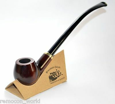 """""""CHURCHWARDEN"""" long  pear tree tobacco smoking pipe from Mr Brog's + stand"""