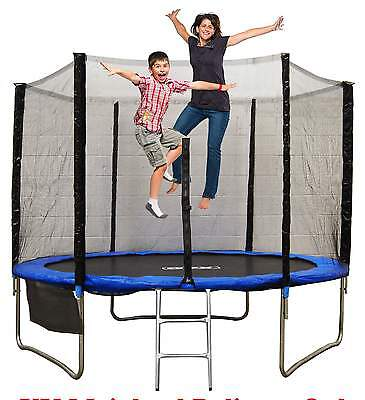 8FT 10FT Trampoline With Safety Net Enclosure Rain Cover Ladder Kids Adults