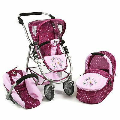 Bayer Chic 2000 3in1 Kombi Puppenwagen EMOTION ALL IN Dots Brombeere NEU