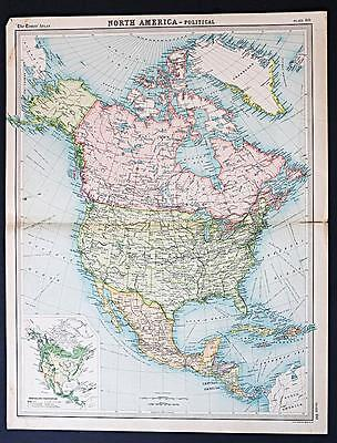 c1920 Times Atlas map of North America - Political