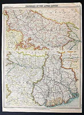 c1920 Times Atlas map of Provinces of the Lower Ganges