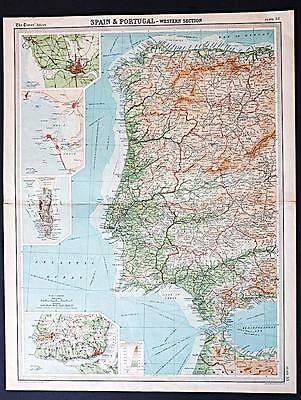 c1920 Times Atlas map of Spain and Portugal - Western Section