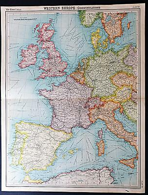 c1920 Times Atlas map of Western Europe - Political