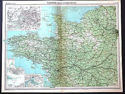 c1920 Times Atlas map of France - North Western Section