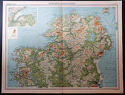 c1920 Times Atlas map of Ireland - Northern Section