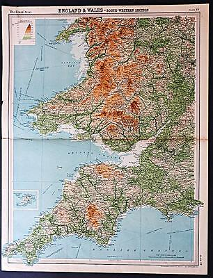 c1920 Times Atlas map of England & Wales - South Western section