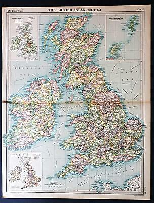 c1920 Times Atlas map of British Isles - Political
