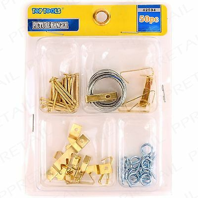 50Pc PICTURE HANGING KIT Mirror Photo Frame Canvas Wall Mounted Screw Eye Hook