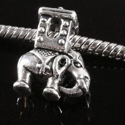 10 Pieces Tibetan Silver Elephant Charms Spacer Beads Fit Bracelet DIY