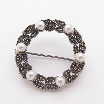 Vintage 925 Sterling Silver Pearl And Marcasite Gem Round Brooch 5g